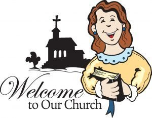 "The words, ""Welcome to our church."" with a Woman and a church silhouette behind."