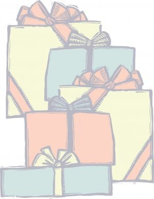 Packages wrapped with bows