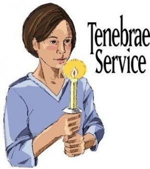"Drawing of a woman holding a lighted candle with both hands and the words ""Tenebrae Service."""