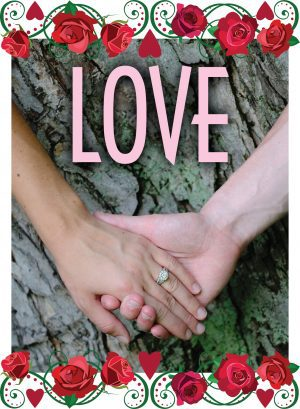 """Two hands clasped together with the word """"Love"""" above."""