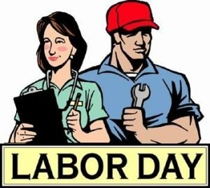 "The words, ""Labor Day"" below a drawing of a man an a woman working."