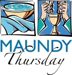 "The words, ""Maundy Thursday"" with drawings of a bowl with a towel and of hands breaking bread above a chalice."