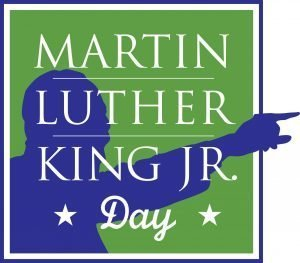 "The words, ""Martin Luther King Jr. Day"" over a silhouette of the man."