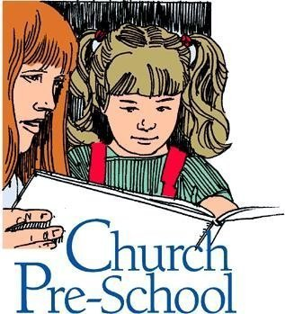 "Small child and a woman reading to her from a book with the words ""Church Pre-School."""