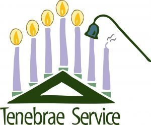 "Drawing of candles being snuffed out with the words ""Tenebrae Service"""