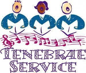 "Drawing of 3 people holding books and singing with the words ""Tenebrae Service"" below musical notes."