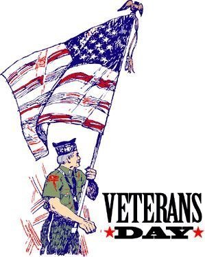 "The words, ""Veterans Day"" with a man carrying a flag."