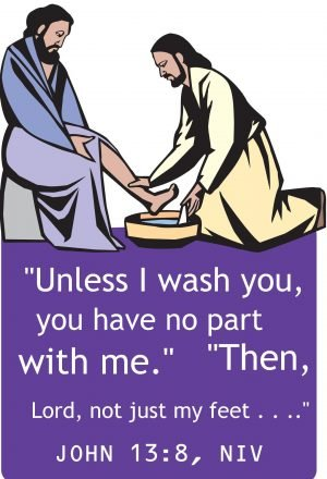 A drawing of a man kneeling to wash the feet of another man with the words of John 13:8