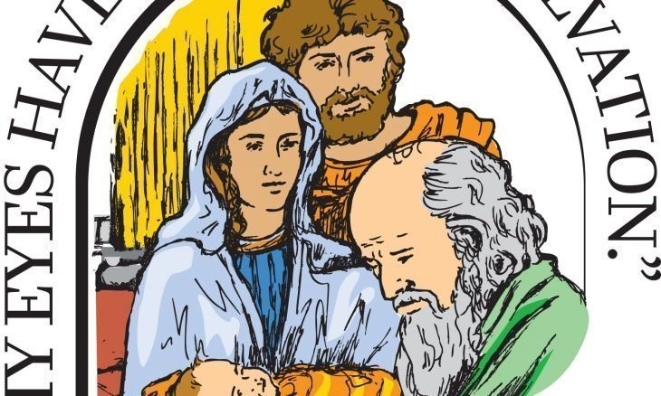 A drawing of Simeon holding Baby Jesus with Mary and Joseph watching.
