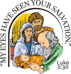 """Drawing of an old man holding a small baby with his mother and father watching and the words """"My eves have seen your salvation."""""""