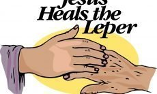 "Drawing of Jesus' hand touching a hand that is covered with sores and the words ""Jesus Heals the Leper."" -Matt 8:2"