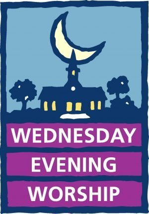 "The words, ""Wednesday Evening Worship"" below a silhouette of a church at night."