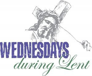 "The words, ""Wednesdays during Lent"" below Christ carrying his cross."