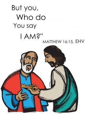 """Painting of Jesus handing a key to Peter and asking, """"But you, who do you say I am?"""""""