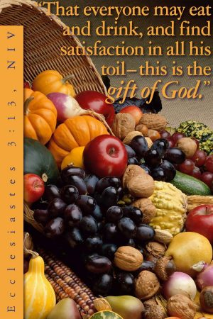 Photo of a large variety of fruits and produce with the words of Ecclesiastes 3:13.