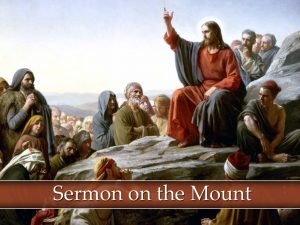 "Painting of Jesus with his hand raised talking with the words, ""Sermon on the Mount."""