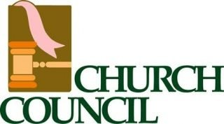 """Banner with the words, """"Church Council"""" and a drawing of a gavel."""