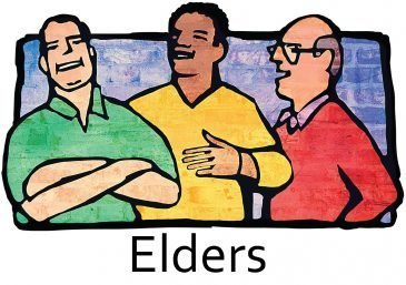 "Three men talking with the word, ""Elders."""