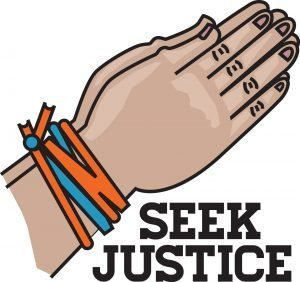 "Drawing of hands tied together by red and blue cords with the words, ""Seek Justice."""