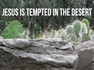 """Photo of prickly pear cactus and rock with desert background and the words, """"Jesus is tempted in the desert."""""""