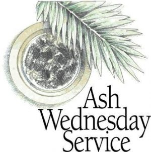 "The words, ""Ash Wednesday Service"" below a pan of ashes with a palm branch."