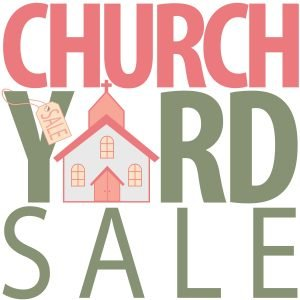 """The words, """"Yard sale Indoors"""" with drawings of household items."""