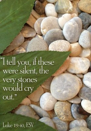 "Photo of stones with the words, ""I tell you, if these were silent, the very stones would cry out."""