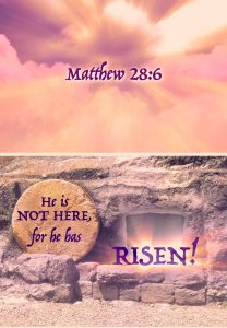 """Photo of a tomb with a round stone beside the door and the words, """"He is not here for he has risen!"""""""