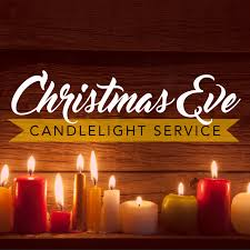 "The words, ""Christmas Eve candlelight service"" in a photo of several lighted candles."