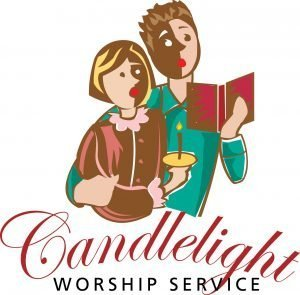 "Man and a woman singing and holding candles with the words, ""Candlelight worship service."""