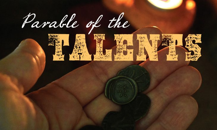 """Photo of a hand holding several old coins with the words, """"Parable of the Talents."""""""
