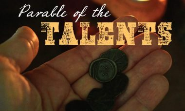 "Photo of a hand holding several old coins with the words, ""Parable of the Talents."""