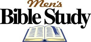 """An open Bible with the words, """"Men's Bible Study."""""""