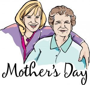 """The words, """"Mother's Day"""" with a drawing of a woman with her arm around an older lady."""