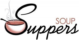 """The words, """"Soup Suppers"""" with a steaming bowl of soup nestled in the """"S"""" of """"Suppers."""""""