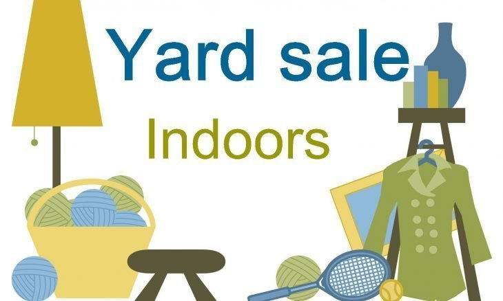 "The words, ""Yard Sale Indoors"" and drawings of household items."