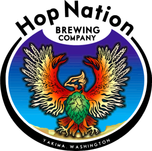 "Logo featuring a bird and the words, ""Hop Nation Brewing Company."""