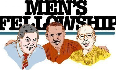 """Drawing of three men with the words, """"Men's Fellowship."""""""