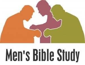 "Silhouettes of three men sitting together and praying with the words, ""Men's Bible Study."""
