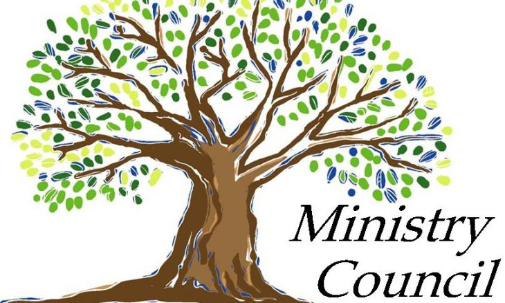 "Drawing of a tree with the words, ""Ministry Council."""