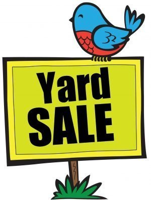 "Drawing of a sign stuck in the ground with a bluebird on it and the words, ""Yard Sale."""