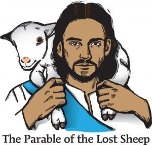 "The words, ""The Parable of the Lost Sheep"" below a drawing of a man carrying a lamb on his shoulders."
