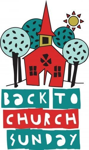 "The words, ""Back to Church Sunday"" with a drawing of a church."