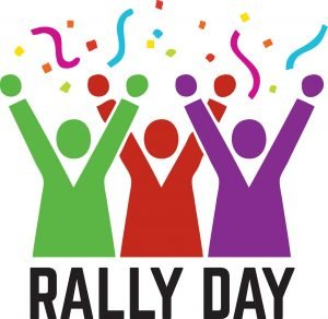 "The words, ""Rally Day"" with 3 figures with arms raised."