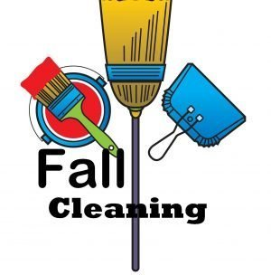 """The words, """"Fall Cleaning"""" with drawings of a broom, dustpan and paint brush."""