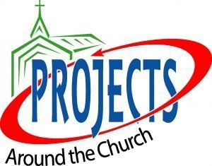 """The words, """"Projects around the church"""" inside a circular arrow with a drawing of a church."""