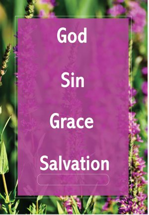 "The words, ""God, Sin, Grace, Salvation,"" on a purple background."