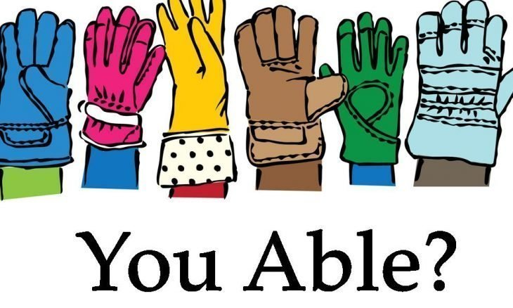 "The words, ""You able?"" below a row of 6 gloves."